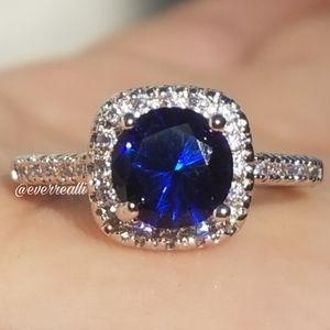 NEW Round Dark Blue Sapphire & Diamond Halo Ring